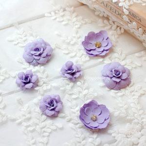 МПС0001 Цветы ручной работы из ткани сиреневые