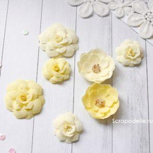 МЖ0001 Цветы ручной работы из ткани желтые