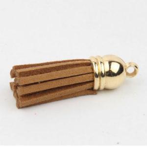 Кисточка коричневая (золотой наконечник)