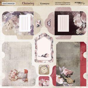 Лист Конверты коллекция Charming (Очарование) 20х20 см для скрапбукинга, артикул SM3300020