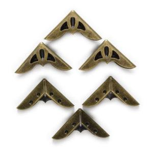 Большие металлические уголки бронзового цвета, 4 шт.
