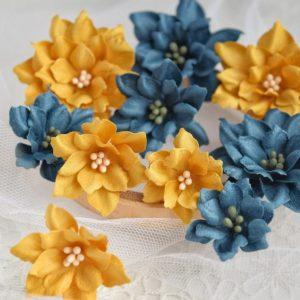 Набор цветов ручной работы горчичный + глубокий синий (Марина Желтоноженко)