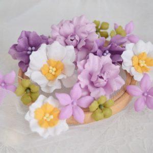 Набор цветов ручной работы, сиреневый микс к коллекции Spring Melody