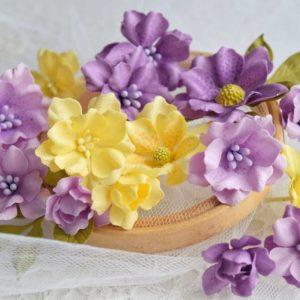 Набор цветов ручной работы, желто-сиреневый микс (Марина Желтоноженко)